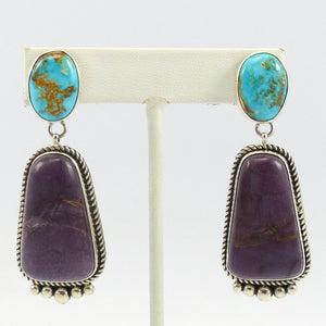 Turquoise and Sugilite Earrings