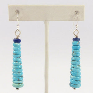 Turquoise and Lapis Bead Earrings