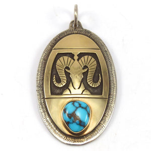 Gold on Silver Pendant, Victor Coochwytewa, Jewelry, Garland's Indian Jewelry