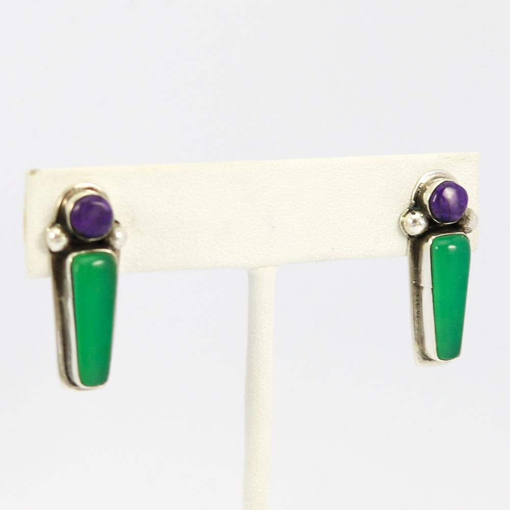 Sugilite and Chrysophase Earrings