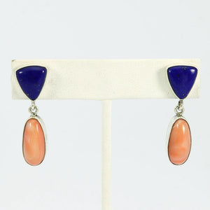 Lapis and Coral Earrings