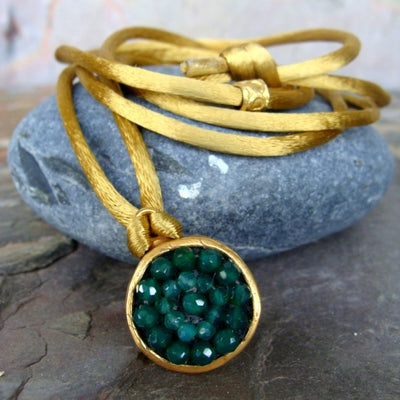 Iconic Green Onyx, Faceted Emerald in 17mm Mosaic Bracelet and Necklace Wrap with Gold Silk, 42""