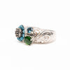 Aquamarine, Diamonds, Emerald and London Blue Topaz Ring