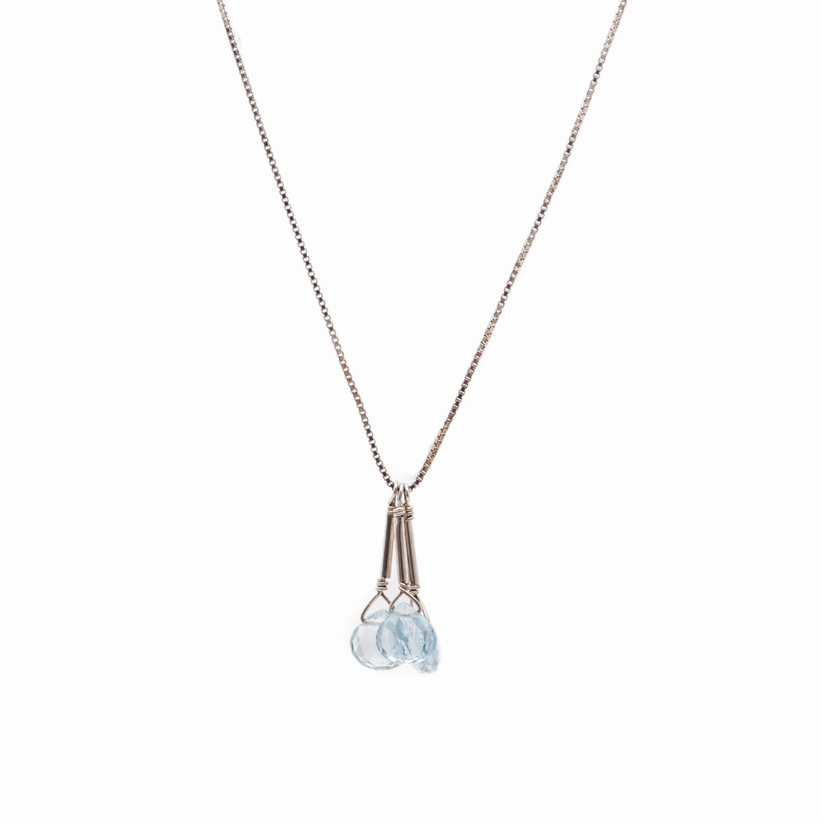 Iconic Gold and Faceted Three Aquamarine Drops Necklace