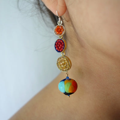 Wanderlust Murano glass earring with yellow sapphire, coral, and carnelian mosaics (Murano)
