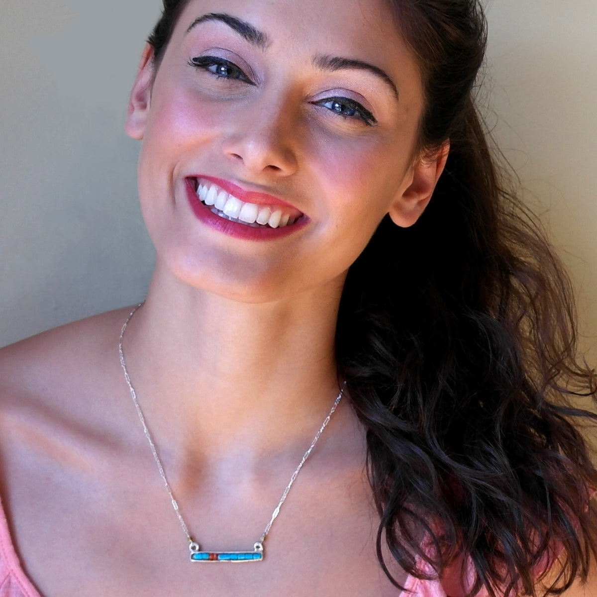 Raising the Bar Necklace: Turquoise and Carnelian