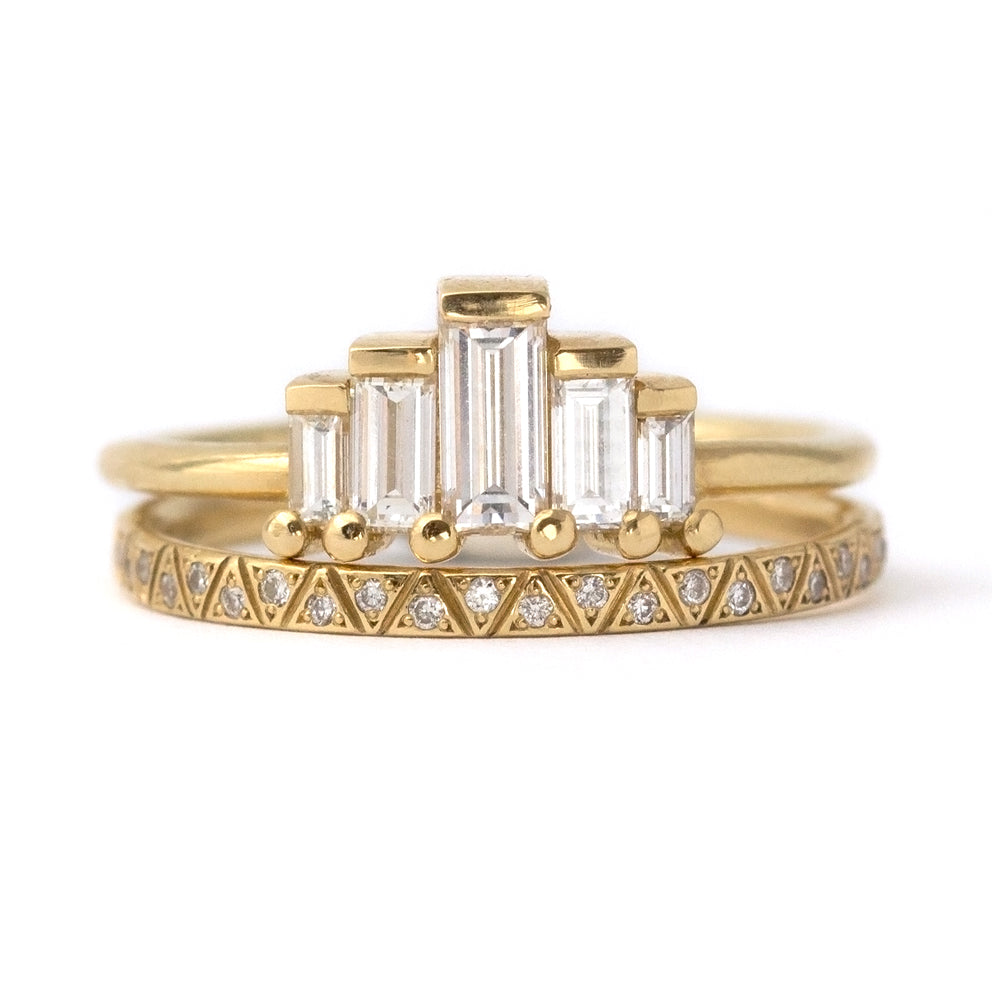 Engraved Diamond Eternity Band - Geometric Pattern Eternity Ring
