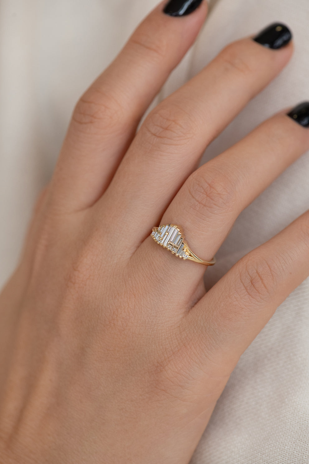 Art Deco Style Engagement Ring on Hand Up Close Side View
