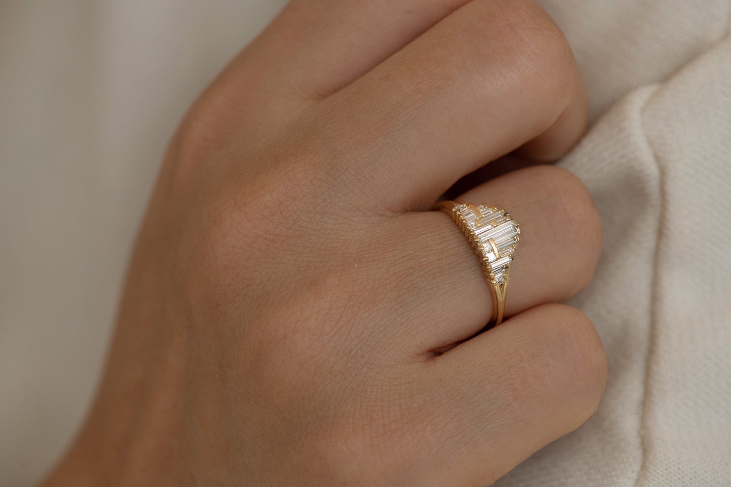 Art Deco Style Engagement Ring on Hand Up Close in Sun