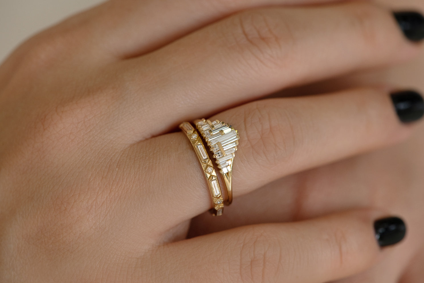 Art Deco Style Engagement Ring on Hand Side View of Set
