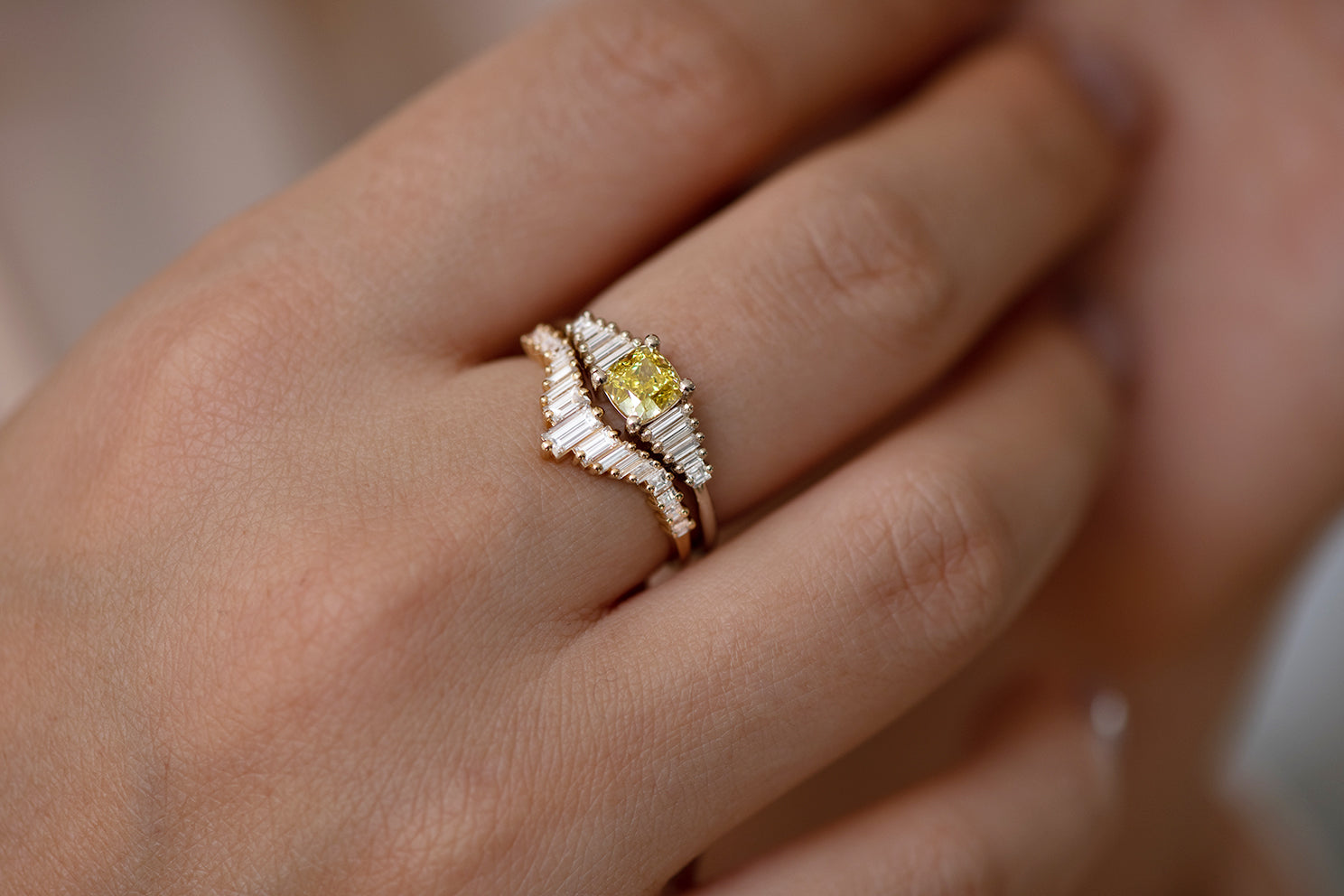 Art Deco Wedding Ring - Tapered Baguette Diamond Ring in Set on hand with Yellow Diamond ring