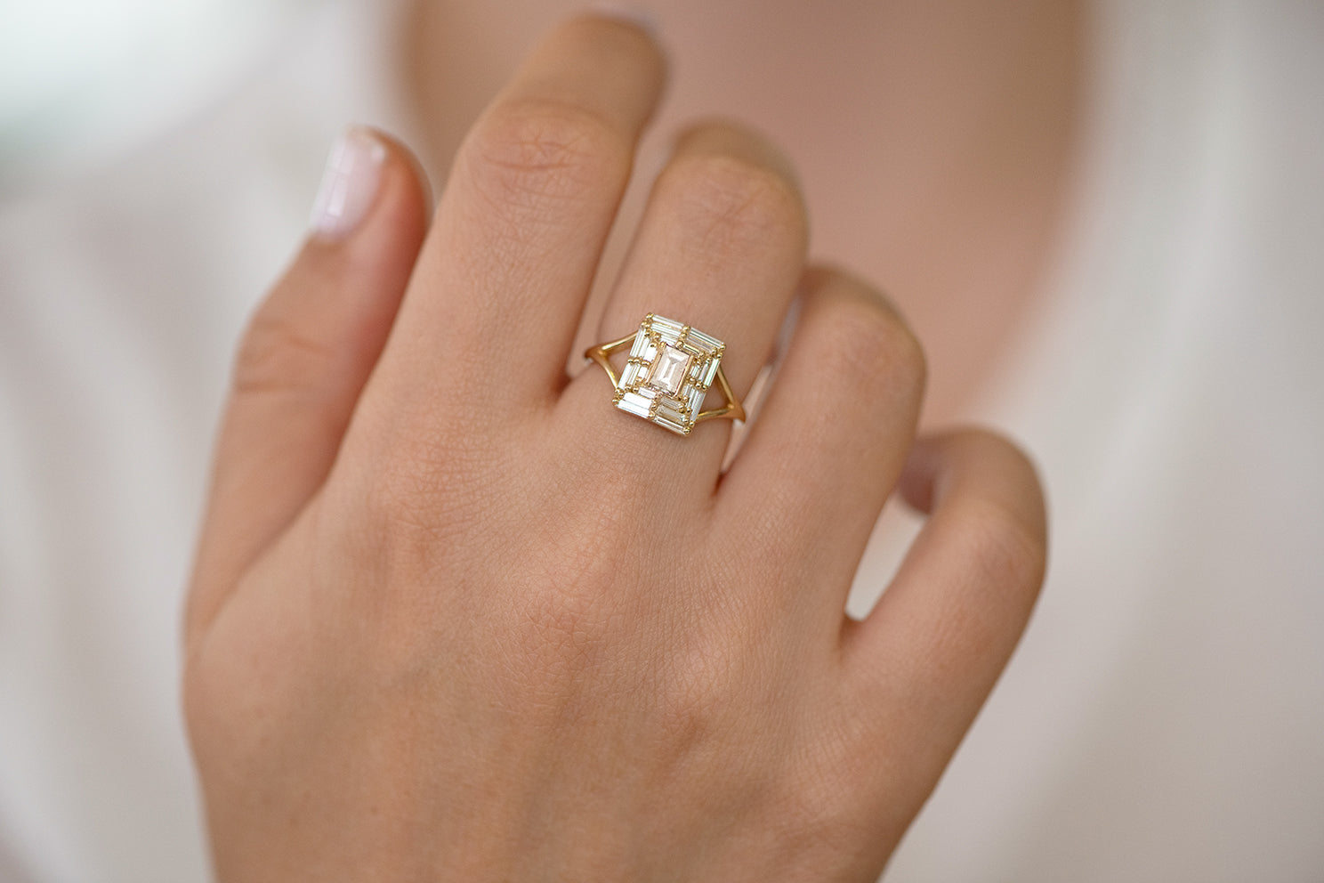 Baguette Cut Engagement Ring - Baguette Temple Ring on Hand Front View