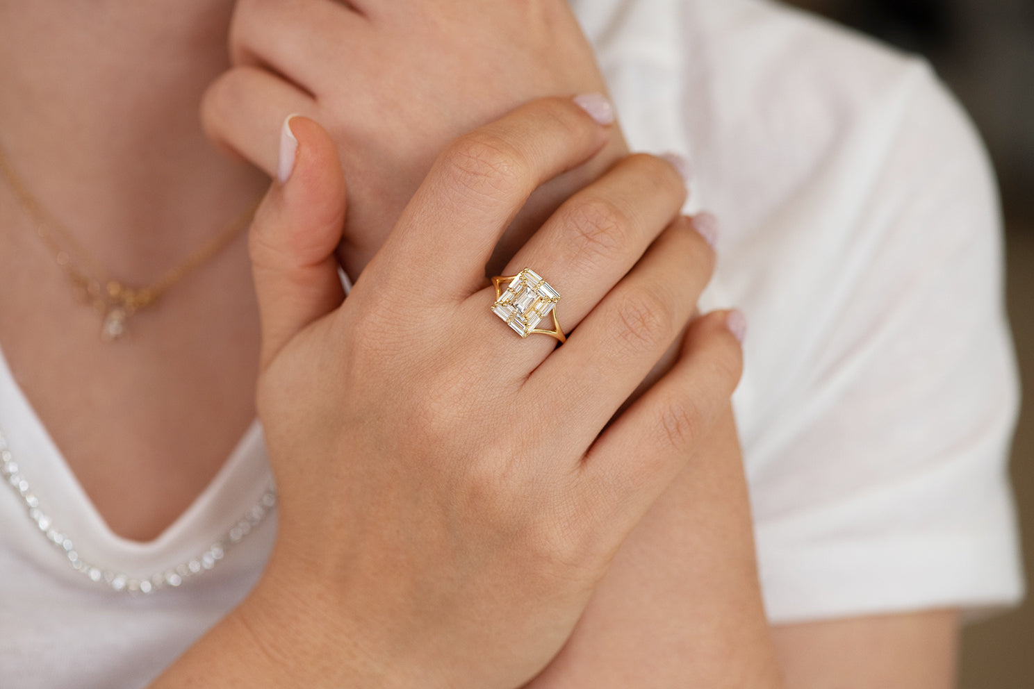 Baguette Cut Engagement Ring - Baguette Temple Ring on Hand Other Angle