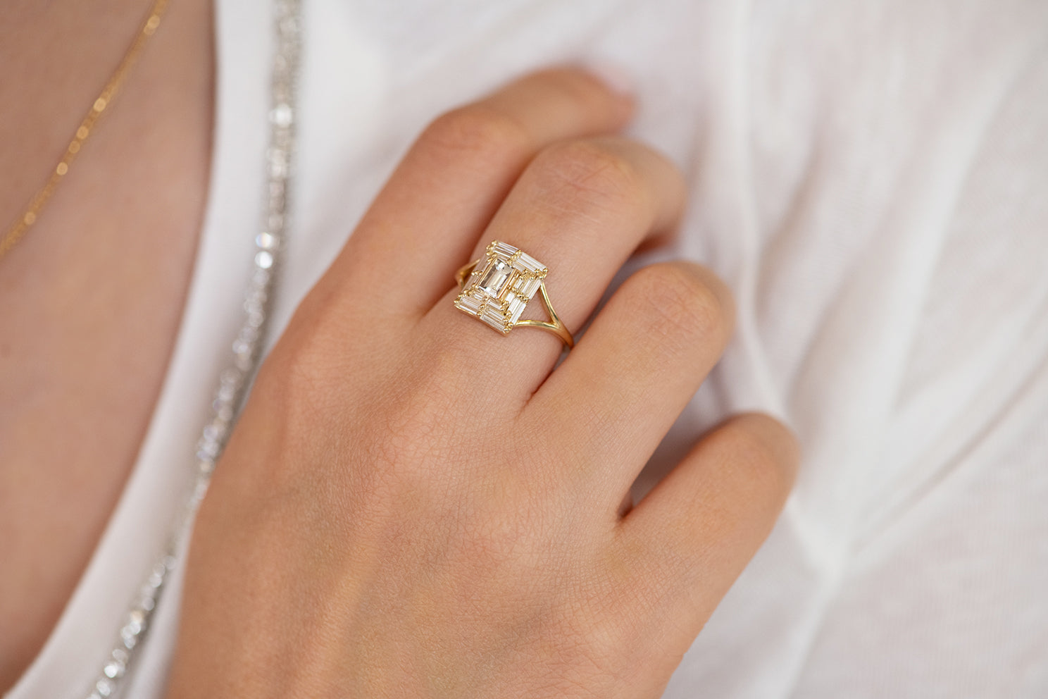 Baguette Cut Engagement Ring - Baguette Temple Ring on Hand Alternate View