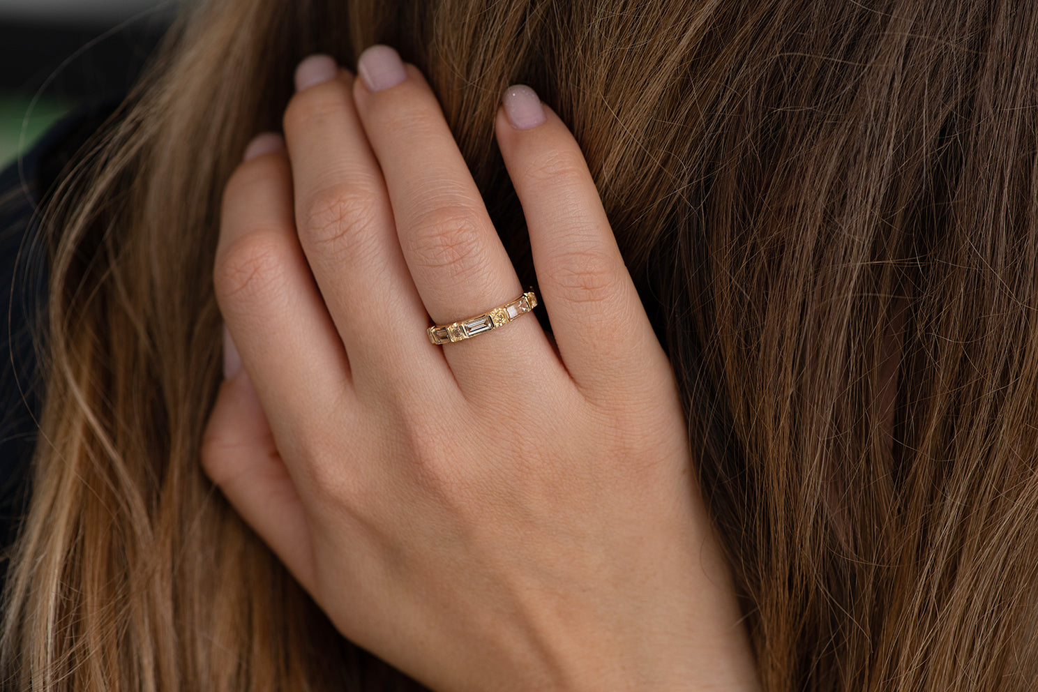 Baguette and Round Diamond Band -  OOAK Champagne Diamond Wedding Ring on Hand in Hair