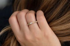 Baguette and Round Diamond Band -  OOAK Champagne Diamond Wedding Ring on Hand Up Close