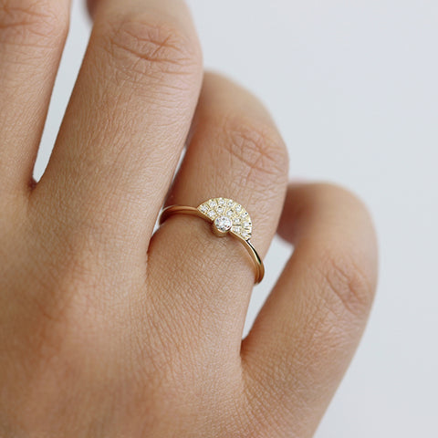 Diamond Engagement Ring With Diamonds Fan