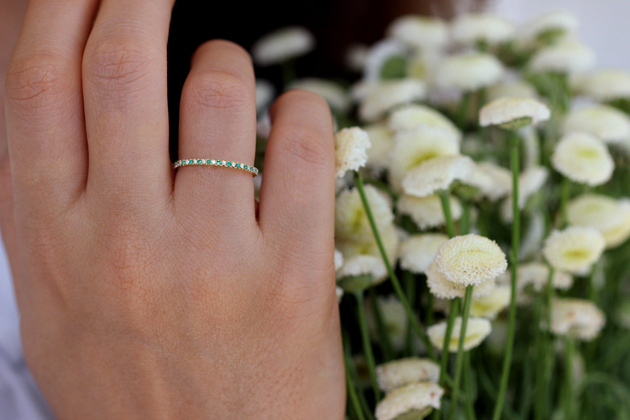 Frontal View Of Emerald And Diamond Eternity Wedding Band