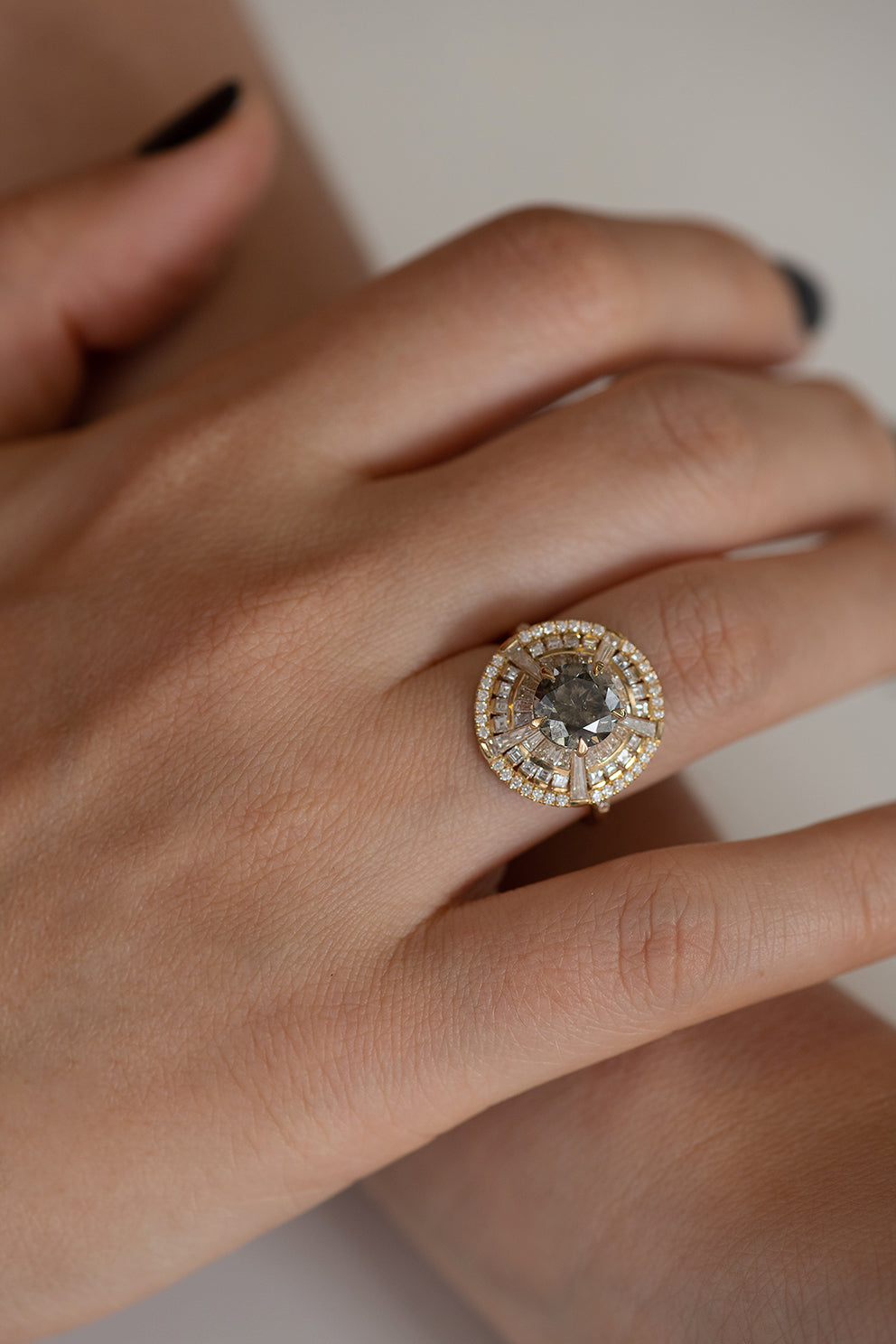 Grey Diamond Temple Ring with Long Tapered Baguette Diamonds on Hand Front Shot