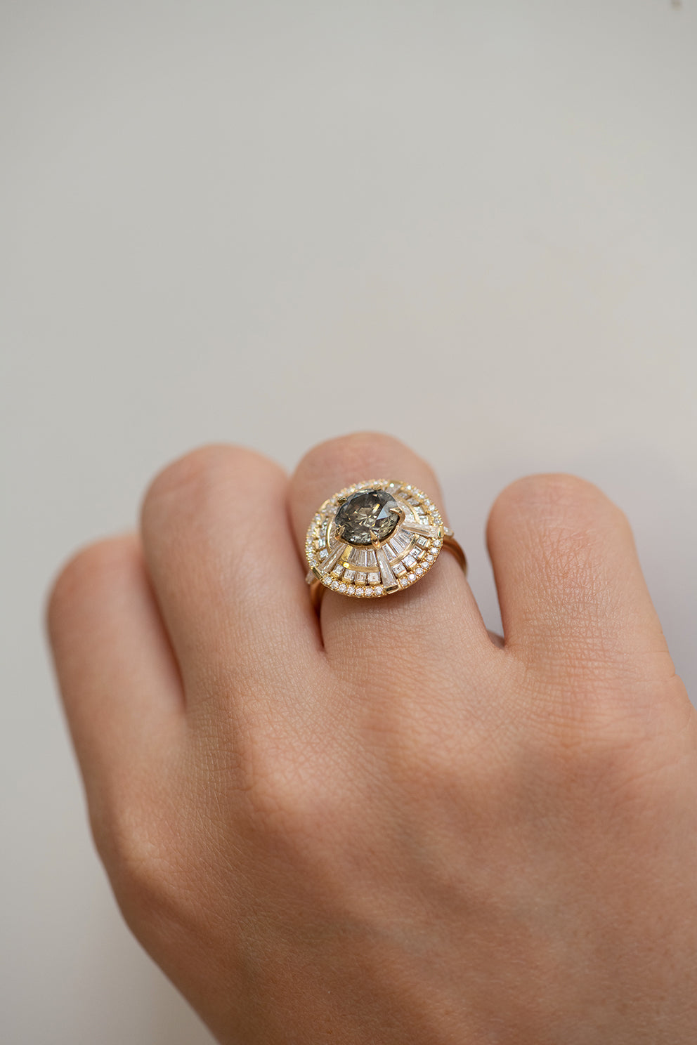 Grey Diamond Temple Ring with Long Tapered Baguette Diamonds on Hand Below View
