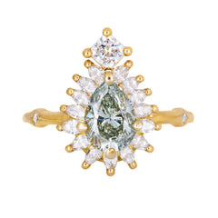 Halo Engagement Ring with Fancy Green Diamond