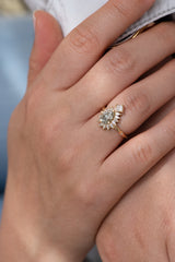 Halo Engagement Ring with Fancy Green Diamond in Ray of Light on Hand