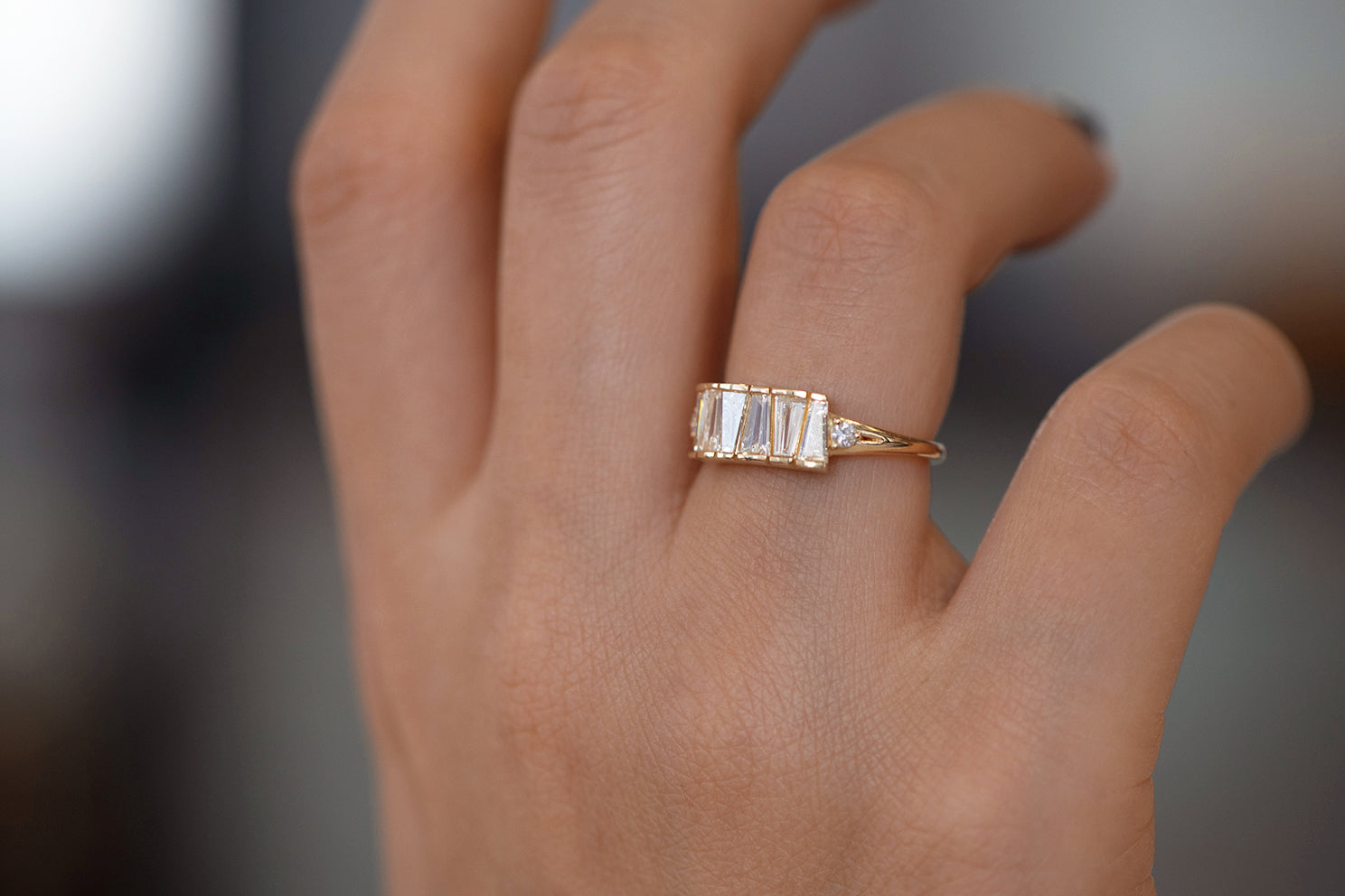 OOAK Tapered Baguette Diamond Lineup Ring Side View on Hand