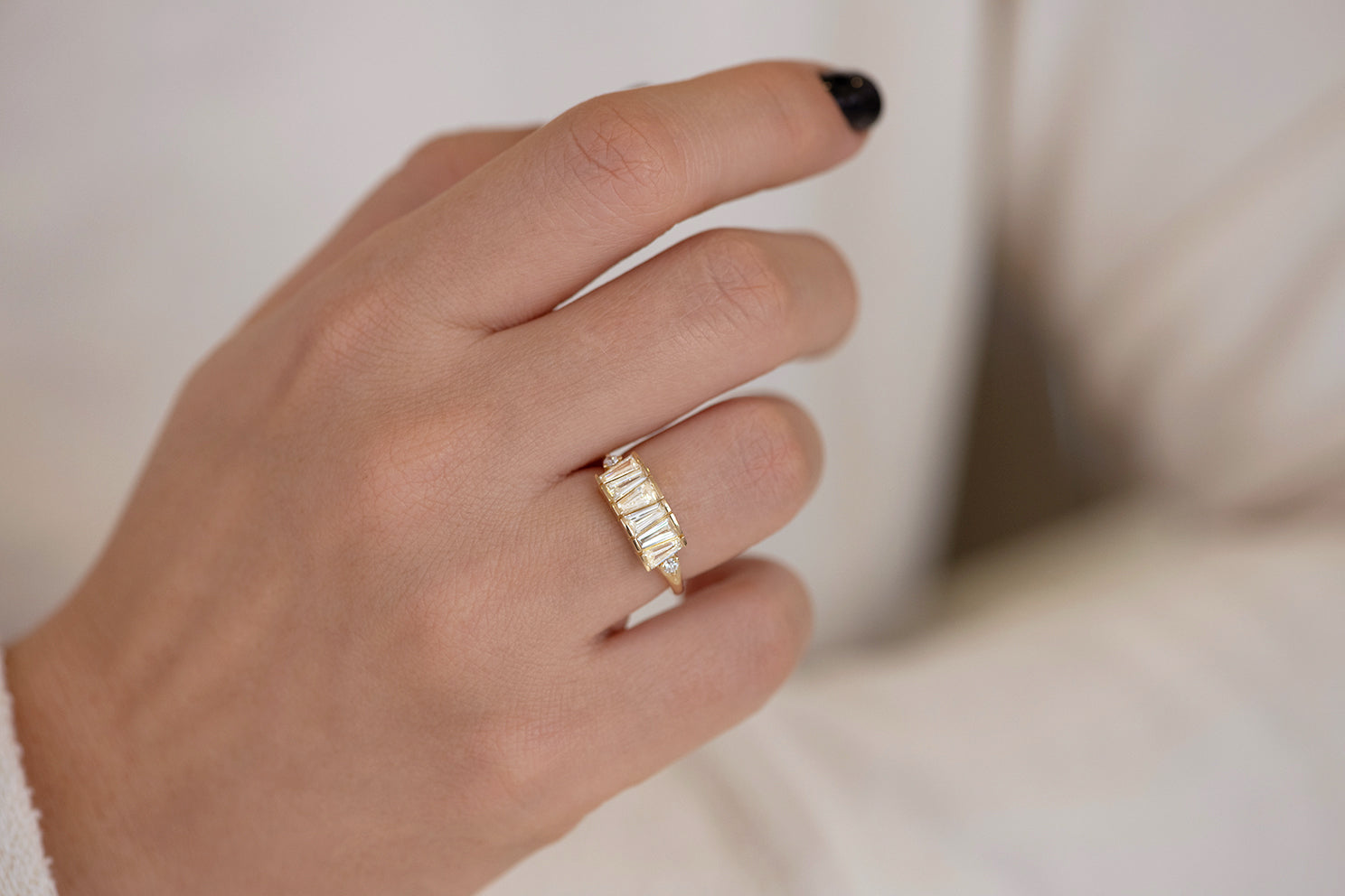 OOAK Tapered Baguette Diamond Lineup Ring on Hand Front View