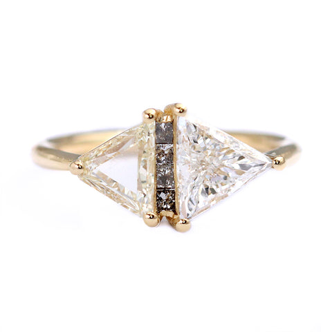 One Carat Trillion Cut Diamond Engagement Ring