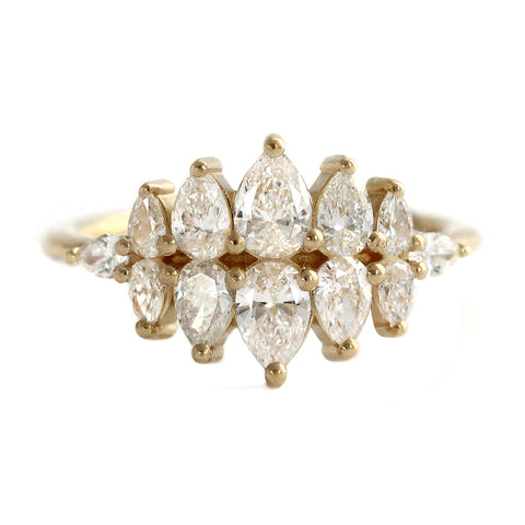Pear Diamond Cluster Ring