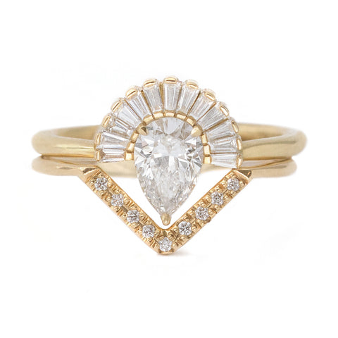 Pear Diamond Engagement Ring Set with Baguette Diamond Crown and Chevron Wedding Band Front View