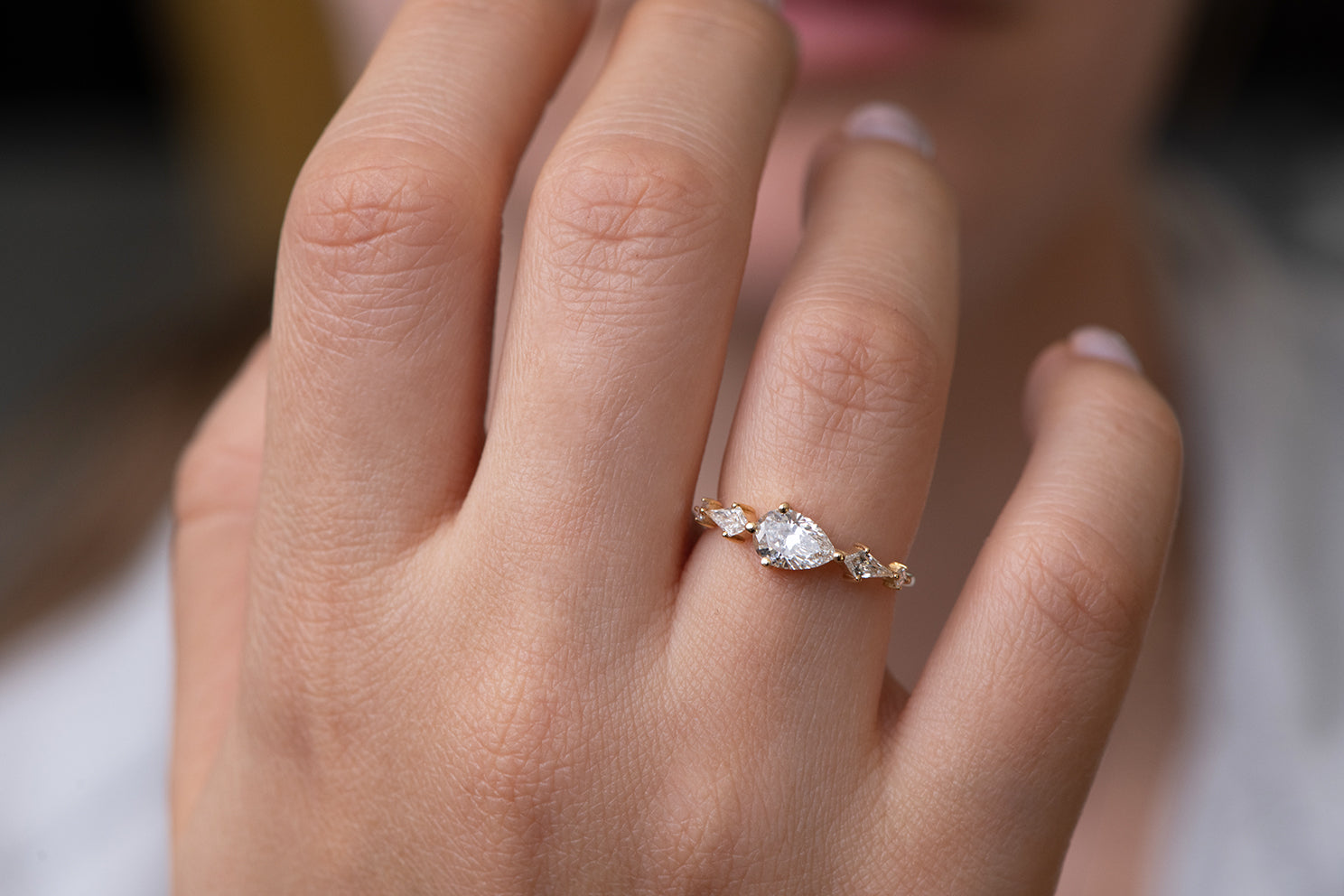 Pear Shaped Engagement Ring - Diamond Lineup Ring Front Shot Other Angle