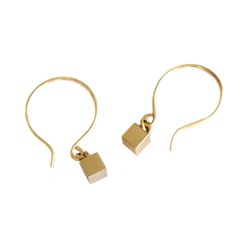 Side By Side Tiny Cube Gold Earrings