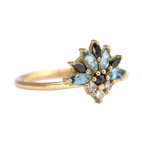 Side View Of Aquamarine Engagement Ring