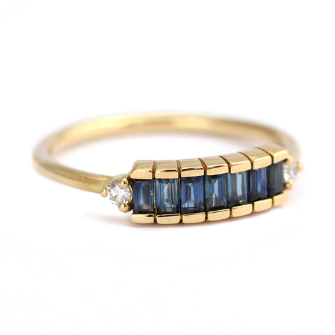 Side View Of Blue Sapphire Baguette Engagement Ring