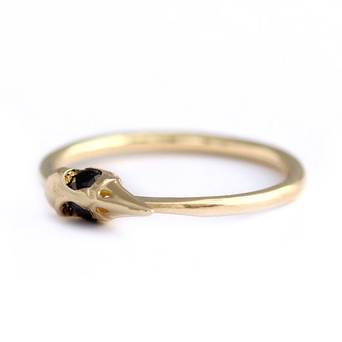 Side View Of Dainty Gothic Gold Ring