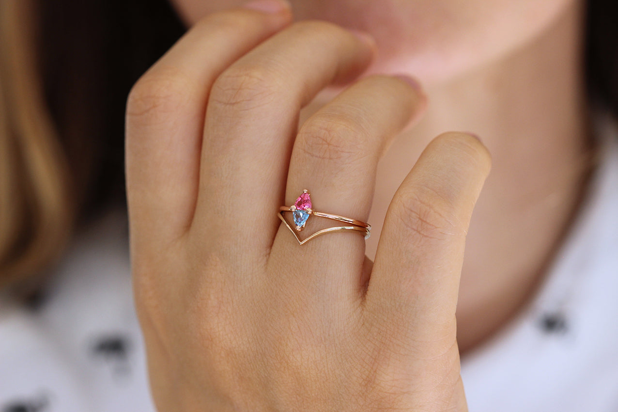 Side View Of Trillion Aquamarine And Pink Spinel Ring In A Set
