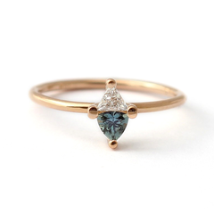 trillion teal sapphire trillion white diamond engagement ring