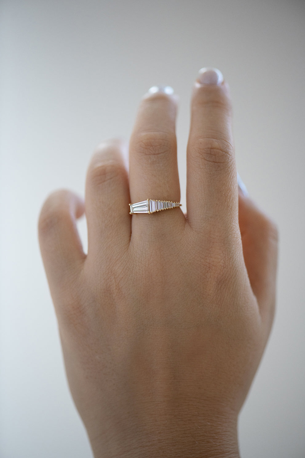 Trapeze Diamond Engagement Ring - OOAK Ring on Hand Front View