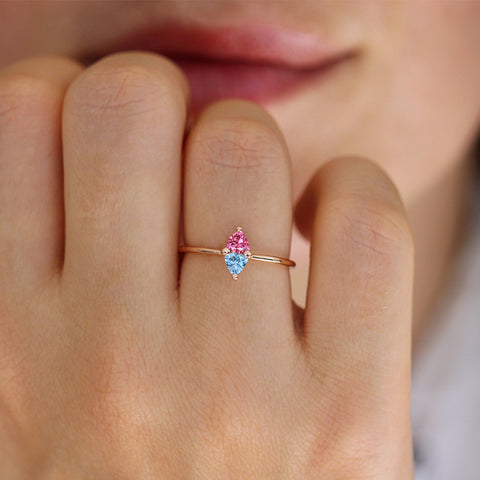 Trillion Aquamarine And Pink Spinel Ring On Finger