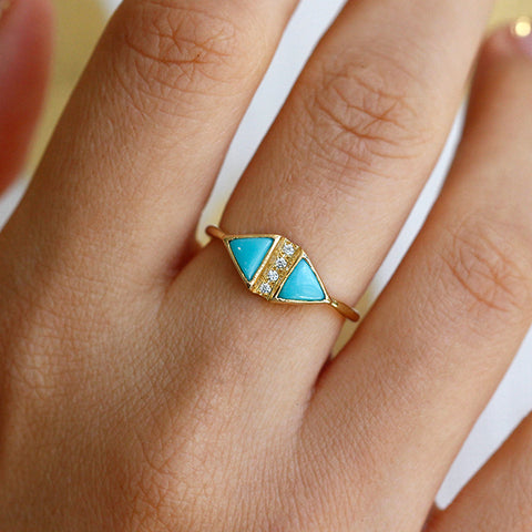 Turquoise And Diamond Art Deco Ring On Finger