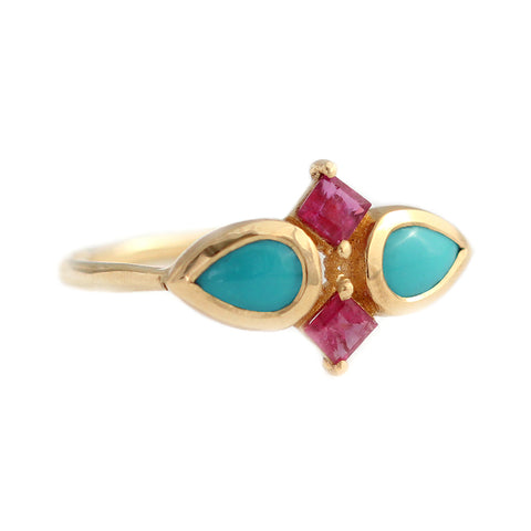 Turquoise Tear Drops And Ruby Squares Ring