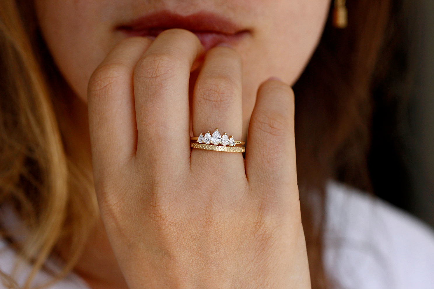 Unique Pear Diamond Engagement Ring In A Set