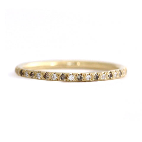 White And Champagne Diamond Eternity Wedding Band