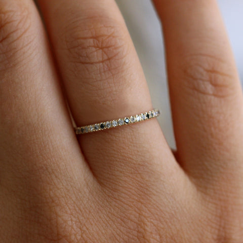 White Black And Grey Diamond Eternity Ring