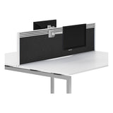 R8 Lite Aluminium Desk Screen + Tool Rail - Fabric Finish and White Trim