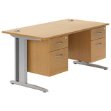 Valoir Deluxe Rectangular desk with Silver Cantilever Legs and Double Pedestal