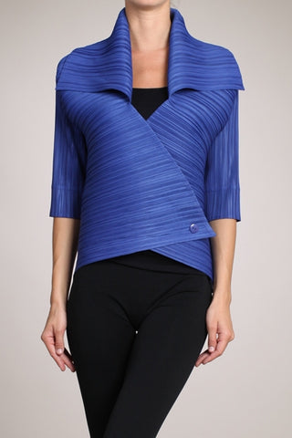 Vanite Couture Glossy Pleated Top in blue - BBT-17