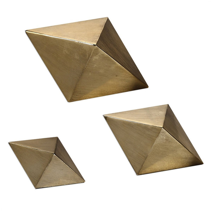 Uttermost Set of 3 Rhombus Antiqued Champagne Tabletop