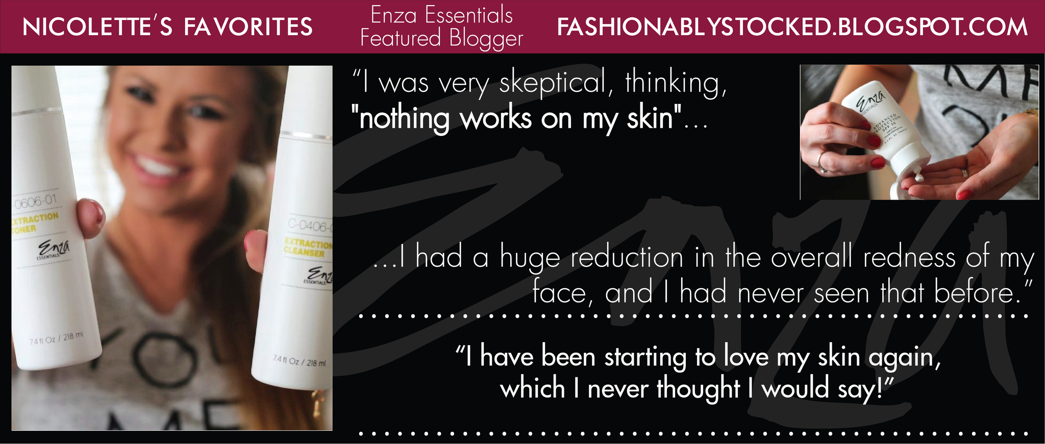 Enza Essentials Featured Blogger Nicolette Fashionably Stocked